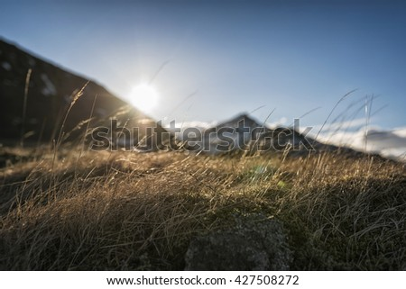Landscape in the mountains of Eastern Iceland - stock photo