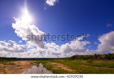 Landscape in the nature reserve on a beautiful summer day in South Africa - stock photo