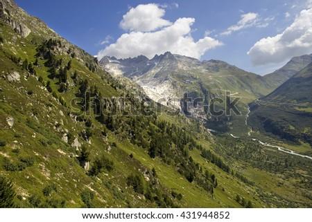 Landscape in the swiss alps, canton berne; switzerland - stock photo