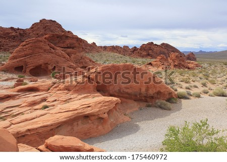 Landscape in the Valley Of Fire, Nevada - stock photo