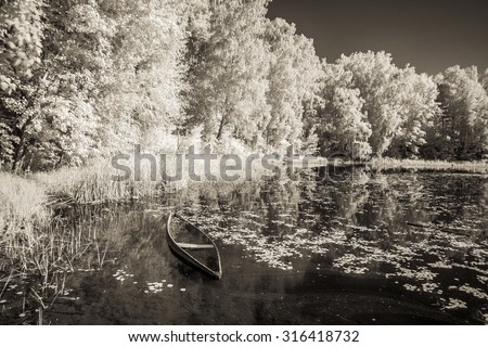 Landscape. Infrared photography. - stock photo