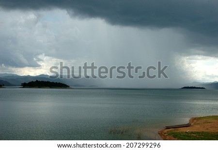 landscape lake mountain and rain cloud