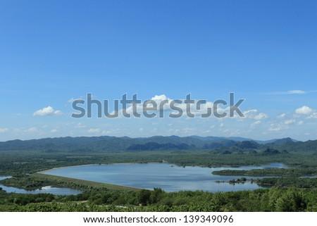 landscape mae kharm dam,Lampang,Thailand - stock photo