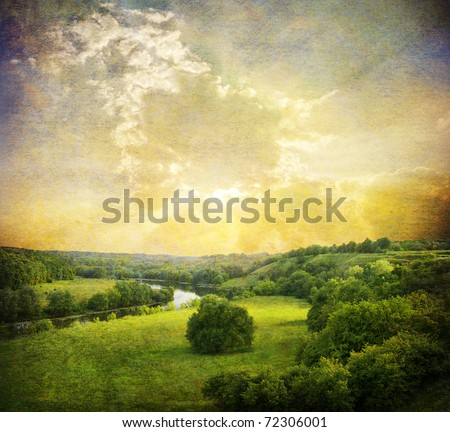 Landscape - meadow,Grunge blue sky and river - stock photo