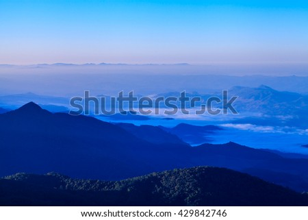 Landscape mist sunshine in the morning on top of mountains Thailand - stock photo