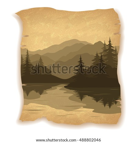 Landscape, Mountain Lake with Islands, Coniferous Fir Trees Silhouettes on Vintage Background of an Old Sheet of Paper