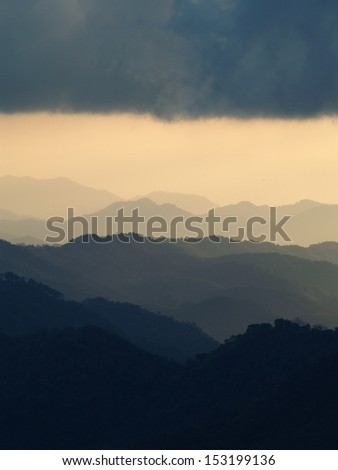 landscape mountain layer clouds and sky for background
