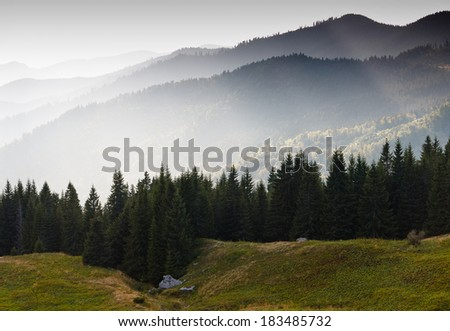 Landscape mountain  with light rays and spring greens  - stock photo