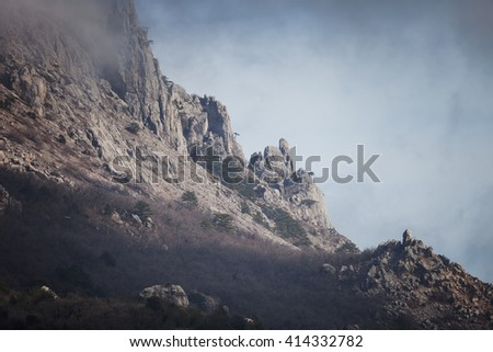 Landscape. Mountains in the clouds - stock photo