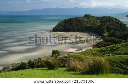 Landscape near Farewell Spit, New Zealand - stock photo