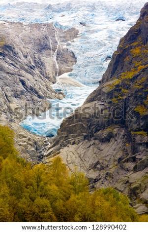 landscape near Melkevollbreen Glacier, Jostedalsbreen National Park, near Brigsdal, Norway - stock photo