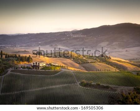 Landscape near Pienza, Tuscany Italy at sunset - stock photo