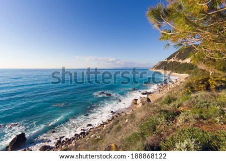 landscape of a beautiful beach in the island of Leykada in Greece