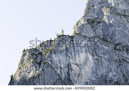 Landscape of a beautiful pristine striking alpine cliff in the Swiss Bernese Alps on a summer day alps