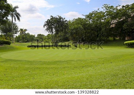 Landscape of a green golf field with trees and a bright blue sky