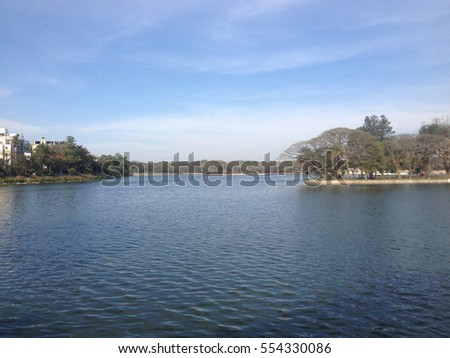 Landscape of a lake with a mini island