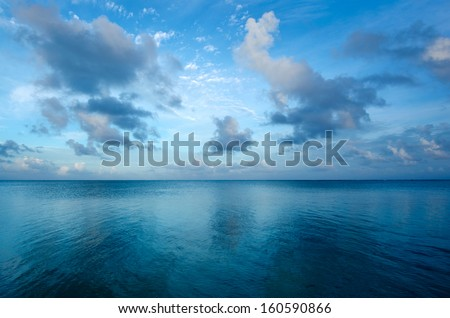 Landscape of Aitutaki Lagoon Cook Islands during early morning. - stock photo