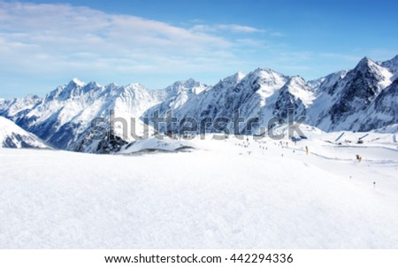 landscape of alps and white snow blurred