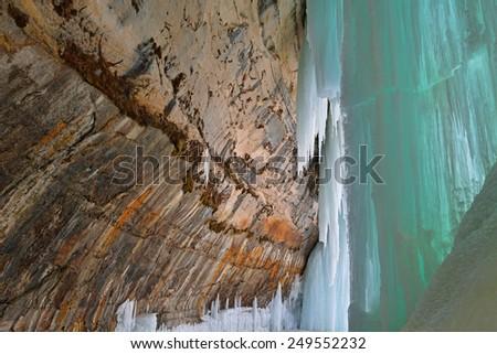 Landscape of an ice cave, Grand Island National Recreation Area, Lake Superior, Michigan's Upper Peninsula, USA  - stock photo
