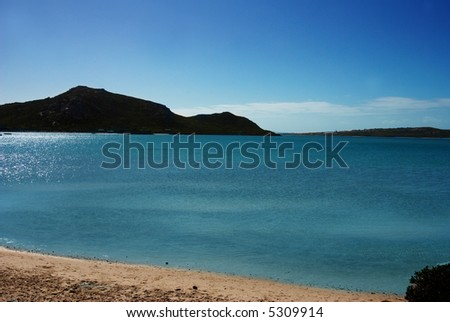 Landscape of an lagoon on a sunny day in Langebaan, South Africa. - stock photo