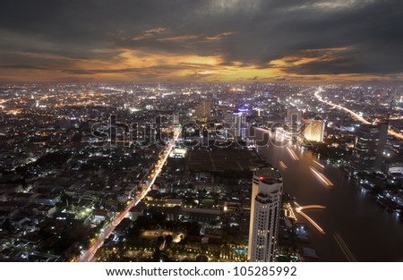 Landscape of Bangkok and the river with the Thai royel place from bird view.