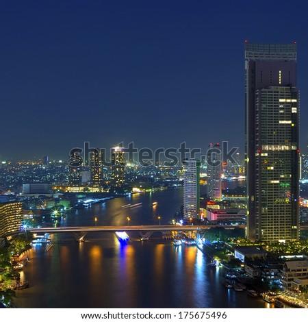 Landscape of Bangkok. Night view of Bangkok property. River at dusk, HDR images. - stock photo