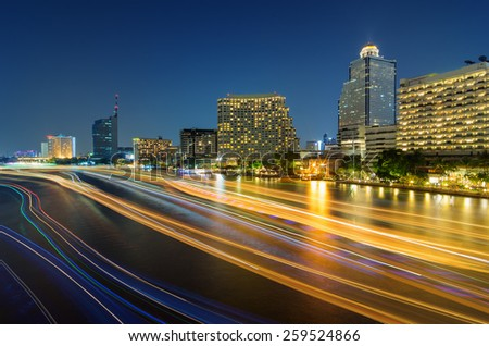 Landscape of Bangkok, River in the city of lights at night.