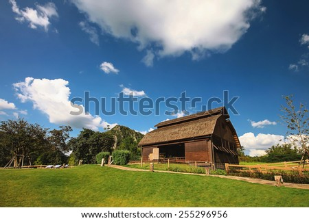 landscape of barn on the farm - stock photo