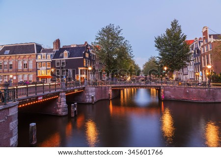 Landscape of beautiful canal at twilight - stock photo