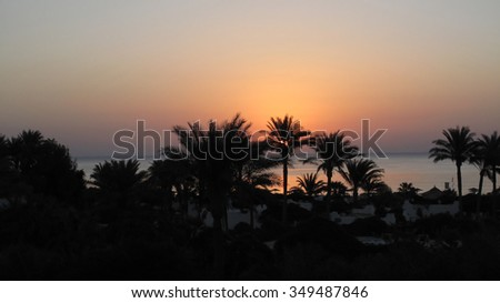 Landscape of beautiful early morning, Red Sea, Egypt                                - stock photo