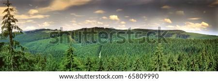 Landscape of Beskydy mountains, panorama (Czech republic) - stock photo
