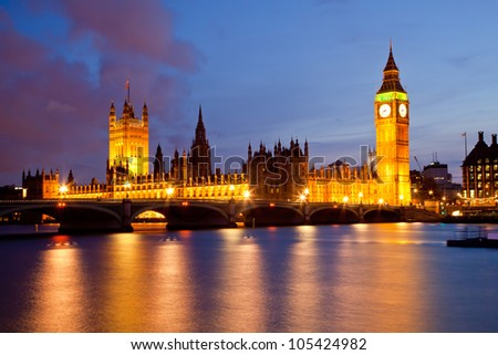 Landscape of Big Ben and Palace of Westminster London England UK - stock photo