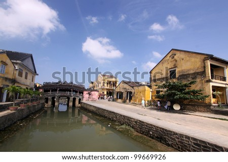 Landscape of building and old japanese bridge. Hilight for any travelers in Hoi An, Vietnam - stock photo