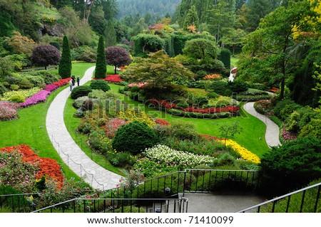 landscape of butchart garden in spring, victoria, british columbia, canada - stock photo