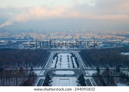 Landscape of city Moscow in winter, Russia. Moscow River and big sports arena of the Olympic Complex Luzhniki. - stock photo