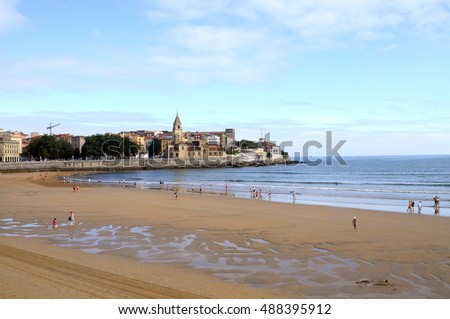 Landscape of city of Gijon and beach in North Spain