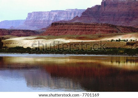 Landscape of Colorado River and Vermilion Cliffs at Lees Ferry - stock photo