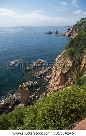 Landscape of Costa Brava in Blanes, Catalonia ,Spain. - stock photo