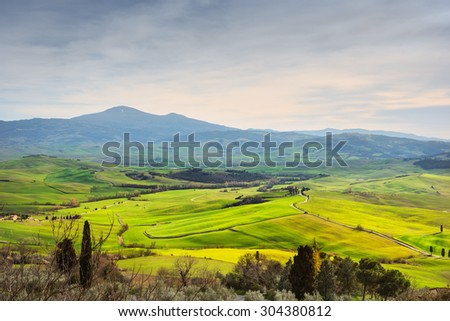 Landscape of countryside in Val d'Orcia province. Tuscany, Italy - stock photo