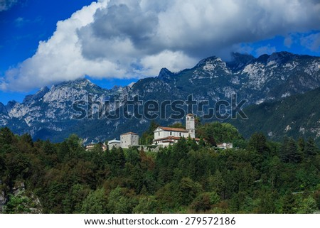 Landscape of Dolomiti Mountains and Valley, Italy - stock photo