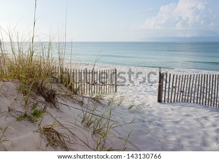 Landscape of dunes, beach and ocean at sunrise on the Gulf of Mexico.