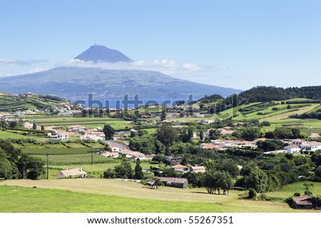 Landscape of Faial with Pico island in background, Azores, Portugal - stock photo