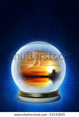 Landscape of fantasy world in magic ball - stock photo