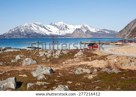 Landscape of fjord in northern Norway - stock photo