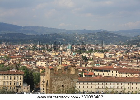 Landscape of Florence with the Great Synagogue,Italy.