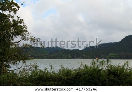 Landscape of Furnas lake. Sao Miguel Island, Azores, Portugal