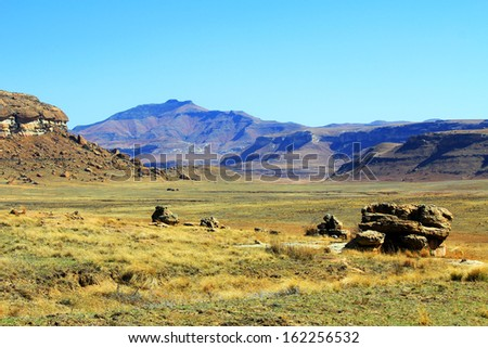 landscape of Golden Gate National Park, South Africa - stock photo