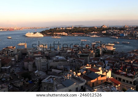 Landscape of Golden Horn from Galata tower in Istanbul, Turkey - stock photo