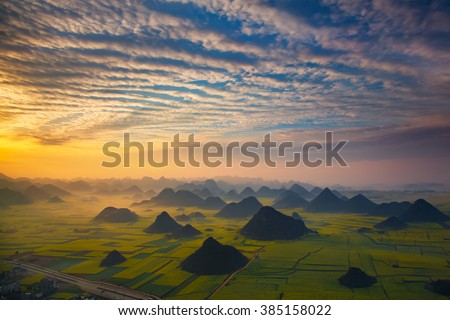 Landscape of Golden rooster hill:Luoping,Yunnan,China. - stock photo