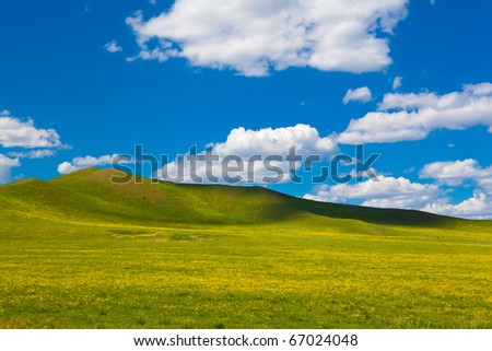 Landscape of grassland in Inner Mongolia of China - stock photo
